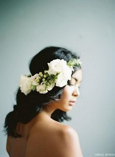 hair flower wreath wedding hair