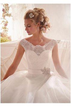 grande immagine 4 Vestido de noiva Bateau Princesa Renda Manga Curta