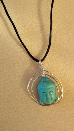 Handcrafted Wire Wrapped Encircled Blue Howlite-Turquenite Buddha Pendant Necklace, Yoga Jewellery, Boho, Spiritual Jewellery, Unisex by BeadedDelightsByStef on Etsy