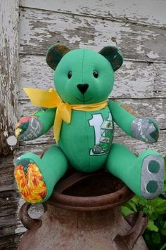Memory bear made from a hooded sweatshirt! Great way to preserve and cherish the memory of a loved one or special life event! Created by Carolyn's Bears.