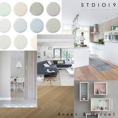 Www.studio1019.nl Sfeerbord Pastels, Hoogglans Keuken, Houten Vloer