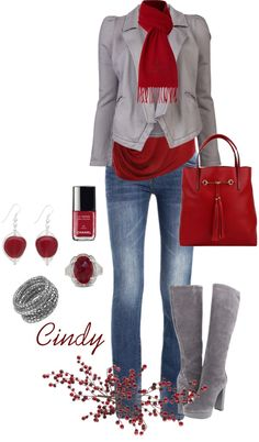 Not the jewelry and not the boots they are too platformed . Love the color of red and grey the jacket and the jeans. Holiday Outfits, Fall Winter Outfits, Autumn Winter Fashion, Winter Wear, Fashion Mode, Look Fashion, Womens Fashion, Fashion Design, Fall Fashion
