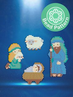 Beaded Christmas Decorations, Christmas Crafts, Nativity Scene Characters, Bead Patterns, Stitch Patterns, Brick Stitch Tutorial, Cross Stitch Christmas Cards, Christmas Nativity Scene, Beaded Crafts