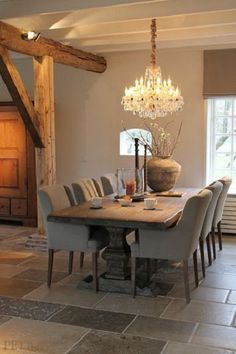 Wonderful putty upholstered dining chairs and gorgeous taupe walls – Belgian style! Katherine Barnett, broker, Re/Max Realty Specialists Inc., Milton real estate The post p . Dining Room Design, Dining Room Table, Taupe Dining Room, Ikea Table, Country Dining Rooms, Table And Chairs, Side Chairs, Taupe Walls, Modern Kitchens