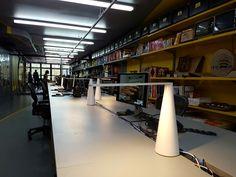 Elica lamp on the desk of Lot-Ek Studio