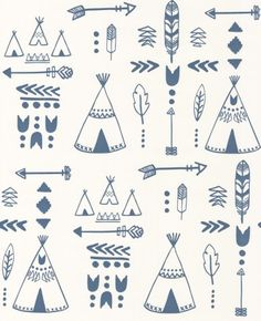 Teepees (HH01002) - Hibou Home Wallpapers - Teepees, arrows, tribal motifs and feathers adorn this fun, wallpaper - perfect for future explorers.  Shown here in the dark blue on white background. Please request sample for true colour match. Paste the wall product.