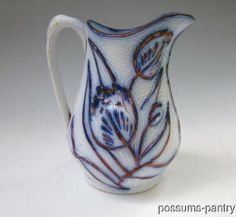 Unusual design but I love it! 19th C White Ironstone Flow Blue Copper Luster Lustre Jug Tulip Shape | eBay