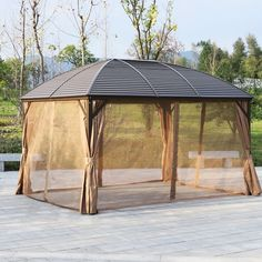 97 great patio gazebo canopy design ideas that are great for replacing your gazebo canopy - Deciding upon the Appropriate Replacement Canopy For Your Gazebo There is a gazebo sitting down out in the lawn, with no cover on it for the reason that Bbq Canopy, Gazebo Canopy, Patio Gazebo, Garden Gazebo, Outdoor Areas, Outdoor Rooms, Outdoor Living, Outdoor Structures, Wicker Furniture