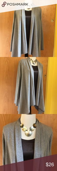 "Pure Jill Draped Open Front Cardigan Sz L Long sleeve grey cardi. Very stylish and comfortable. Excellent condition. Sleeve 27"" Length on back 33"" From smoke-free home. No trades or transactions outside of Poshmark. JJill Sweaters Cardigans"