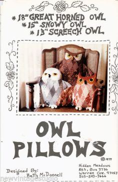 FAB-OWL-PILLOWS-Pattern-1979-Great-Horned-Snowy-and-Screech-UNCUT