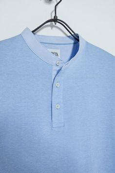 Knit Shirt, Polo Shirt, Fabric Textures, Zara, Mandarin Collar, Casual, Menswear, Short Sleeves, Mens Tops
