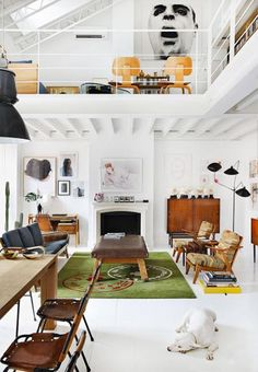 nice loft but natural wood and metal instead of white. modern interior design with high ceilings and lofts