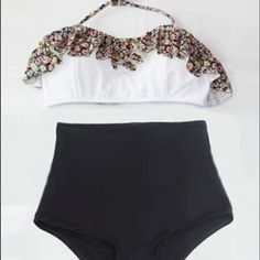 Flora Floral Print Retro High Waist Swimsuit (Flora Top and Black Bottom Vintage Swimsuit) High waisted Bathing suit Swimwear. // Love the the floral print! Summer Wear, Spring Summer Fashion, Summer Outfits, Cute Outfits, Looks Style, Looks Cool, Look Fashion, Womens Fashion, Trendy Fashion