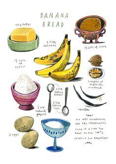 illustrated recipes | illustrated recipes: banana bread Art Print by felicita sala ...