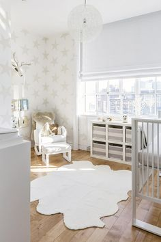 White nursery with beautiful star print on walls Nursery ideas and inspiration #nursery #inspiration #baby