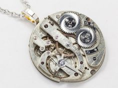 Steampunk jewelry Steampunk Necklace Vintage silver key Rare pocket watch movement circa 1880's men women unisex pendant Statement Gift 2244 on Etsy, $65.00