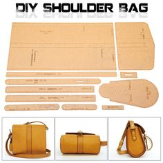 Leather Craft Clear Acrylic Shoulder Bag Handbag Pattern Stencil Template DIY Picture 2 of 4 Leather Diy Crafts, Leather Gifts, Leather Projects, Handmade Leather, Leather Crafting, Vintage Leather, Handmade Bags, Handmade Items, Leather Purses
