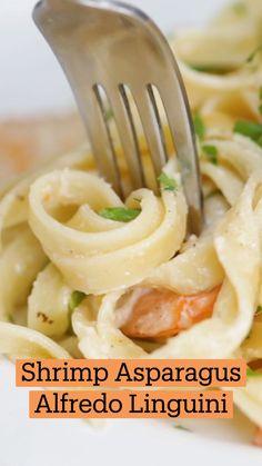 Shrimp Recipes, Fish Recipes, Burger Recipes, Pasta Dishes, Food Dishes, Leftover Ham Recipes, Shrimp And Asparagus, Cooking Recipes, Healthy Recipes