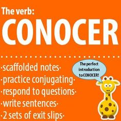 "$ The verb: CONOCER - Intro, Practice, Respond, Write! Perfect introduction to ""conocer"" completed with 2 sets of exit slips"
