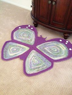 Crochet Butterfly Rug by PeanutButterDynamite on Etsy Crochet Carpet, Crochet Home, Crochet Yarn, Handmade Pillows, Handmade Rugs, Knit Rug, Crochet Rug Patterns, Crochet Butterfly, Crochet Pillow