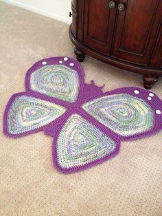 Crochet Butterfly Rug by PeanutButterDynamite on Etsy