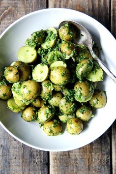 New Potatoes with Green Harissa - the freshly made harissa is a great use for summer herbs!