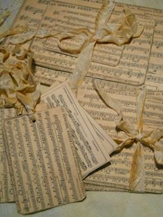 sheet music ..tags and centerpieces