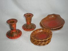Lot-of-Vintage-Stangl-Candlestick-Seashell-Bowl-Fingertip-1388-Colonial-Rust