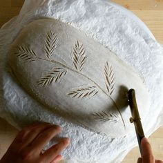 Trying for something like a delicate fern. A bit concerned that there aren't enough deep cuts to keep the dough well behaved, but fingers… Artisan Bread Recipes, Sourdough Recipes, Sourdough Bread, Pain Au Levain, Bread Art, Bread Shaping, Cooking Bread, Fresh Bread, Bread Rolls