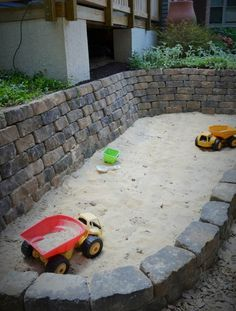 Sandpit itself build cobblestone diy ideas play cars