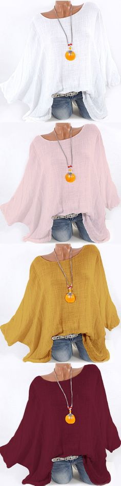 65% OFF! Vintage Batwing Sleeve Simple Shirts for Women. 4 colors options. Wine Red,White,Pink,Yellow #plus #women #casual
