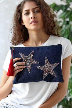 Kadın Jean Yıldız Aplikeli Clutch