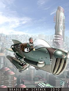 Gwen takes off in her rocket and flies over the city of tomorrow - Thrilling Tales of the Downright Unusual