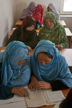 Women studying in an ARZU literacy class. (Photo Credit: Sgt. Ken Scar)