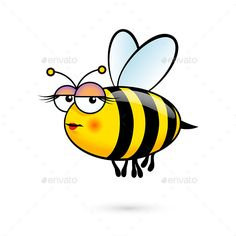Illustration of a Friendly Cute Female Bee with Expression on White