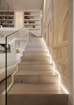 Located near the Piazza Navona in Rome, Italy, this stylishly renovated penthouse in an ancient building was designed by Carola Vannini Architecture. Piazza Navona, Modern Staircase, Staircase Design, Spiral Staircases, Penthouse Apartment, Interior Decorating, Interior Design, House Stairs, Travertine