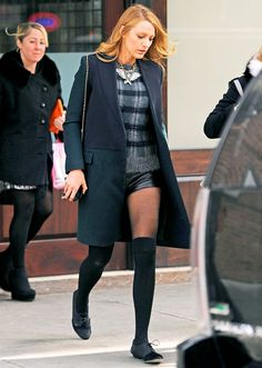 Blake Lively Wears Super-Short Leather Shorts in Chilly NYC: Picture
