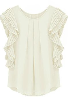 White Lotus Short Sleeve Loose Chiffon Blouse