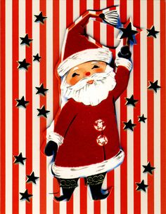 Retro - Santa Claus, red and white stripes