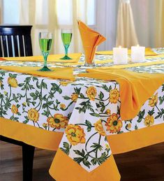 Dining Table Cloth, Table Runner And Placemats, Table Linens, Yellow Tablecloth, Catering Table, Boho Home, Table Covers, Diy Home Decor, Table Settings