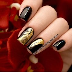 Golden leaves nails Products used: 3D glitter nail art studs http://www.ladyqueen.com/1pc-multicolor-circle-nails-wheel-3d-nail-art-tips-shinning-sequin-slice-nail-decoration-3g-na0653.html BC series nail art stamping plate http://www.ladyqueen.com/1pc-6-12cm-diy-nail-art-image-stamp-stamping-plates-crown-dappled-floral-pattern-manicure-template-lace-series-bc3-na0481.html ALL ORDERS ON WWW.LADYQUEEN.COM ENJOY 15% OFF NOW!