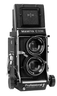Mamiya C330, a great camera!  Used it many time while a Marine Corps Photographer.