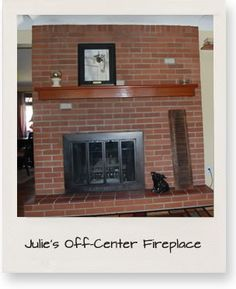 Terrific Totally Free long Brick Fireplace Suggestions Hey there- and welcome to another installment of Pick My Presto! I read this comment on Monday's Brick Fireplace Decor, Red Brick Fireplaces, Fireplace Remodel, Fireplace Mantle, Fireplace Makeovers, Fireplace Ideas, Off Center Fireplace, Tv Over Fireplace, Long Room