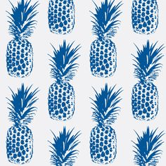 Pineapple Regal Blue fabric by lillytaylordesign on Spoonflower - custom fabric