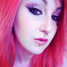 full face makeup and girl with long pink hair