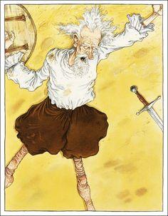 Don Quixote/ Miguel De Cervantes, retold by Martin Jenkins/ Walker Books, Illustrator: Chris Riddell Chris Riddell, Afro, Dom Quixote, Retelling, Cartoon Art, Line Art, Illustration Art, Book Illustrations, Illustrators