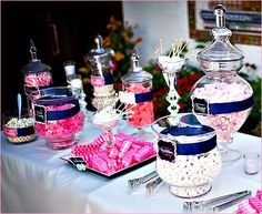 Candy buffet in pink and navy