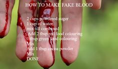 How to make fake blood! Cosplay Tutorial, Cosplay Diy, Cosplay Makeup, Halloween Cosplay, Halloween Make Up, Halloween Crafts, Fx Makeup, Makeup Ideas, Fake Blood