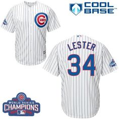 f99c700c0a5 Cubs  34 Jon Lester White Home 2016 World Series Champions Stitched Youth MLB  Jersey Baseball