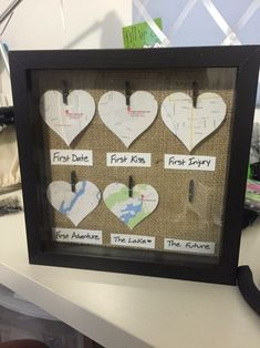 DIY Shadow Box Romantic Maps Gift Ideas #anniversarygifts #boyfriendanniversarygifts